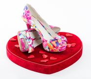 Present or gift of women shoes for Valentine Day Stock Image