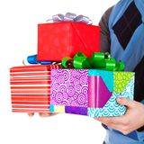 Present gifts in men's hands Royalty Free Stock Photo