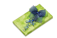 Present with green and blue bow Royalty Free Stock Image