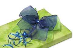 Present with green and blue bow Royalty Free Stock Photography