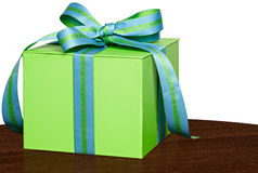 Present In Green Gift Box Blue & Green Ribbon Royalty Free Stock Photos