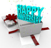 Present - Happy Anniversary Gift Box Royalty Free Stock Image