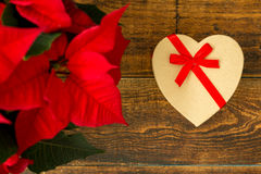 Present with heart shape and seasonal plant with red leaves Stock Images