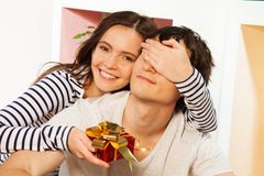 Present for him on the lovers day Stock Images