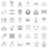 Present icons set, outline style. Present icons set. Outline style of 36 present vector icons for web isolated on white background Royalty Free Stock Photo
