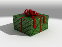 Present In Green Wrapping Paper Royalty Free Stock Photo