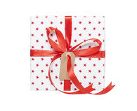 Present isolated with gift tag Stock Photography