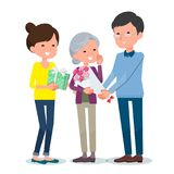 Present for loved ones_Aged`s Day Granny Royalty Free Stock Photo