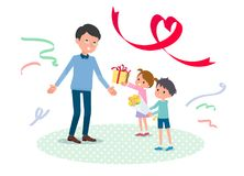 Present for loved ones_Children give to father2 Stock Photos