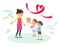Present for loved ones_Children give to mother2 Royalty Free Stock Photo