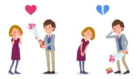 Present for loved ones_Men invited women Stock Photography