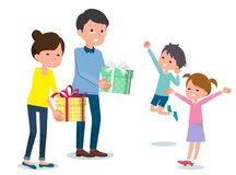 Present for loved ones_parents give to Children Stock Photo