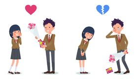 Present for loved ones_School Boy invited School girl Royalty Free Stock Photos