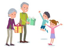 Present for loved ones_seniors give to Children Royalty Free Stock Photo