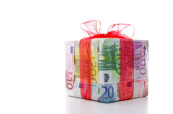 Present made of euro notes Royalty Free Stock Image
