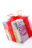 Present made of euro notes Royalty Free Stock Images