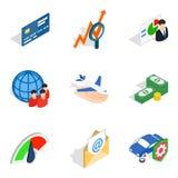 Present money icons set, isometric style. Present money icons set. Isometric set of 9 present money vector icons for web isolated on white background Royalty Free Stock Photography