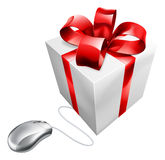 Present mouse internet gift shopping Royalty Free Stock Images