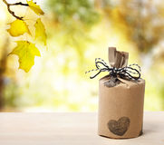 Present over yellow forest Stock Photo