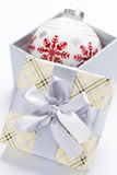 Present package and garlands Royalty Free Stock Photo