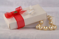 Present of pearls. Decorated Box present of pearls Stock Image