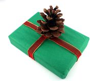 Present and Pinecone. A green Christmas present with a pine cone decoration Royalty Free Stock Photo
