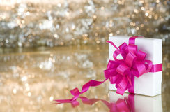 Present with pink ribbon Royalty Free Stock Image