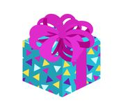 Present with Posh Bow Pattern Vector Illustration. Present with posh bow and pattern of triangles, on wrapping, gift as guarantee of good mood, vector Royalty Free Stock Photo