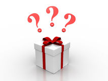 Present question. 3D image of present with question marks Stock Image