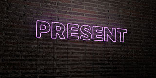 PRESENT -Realistic Neon Sign on Brick Wall background - 3D rendered royalty free stock image. Can be used for online banner ads and direct mailers stock illustration