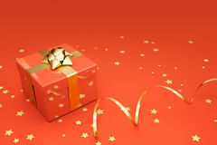 Present on Red. Present box with ornaments over a vivid deep orange background royalty free illustration