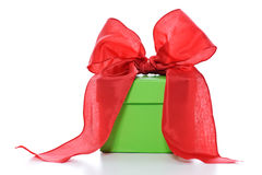 Present with red bow Stock Photos
