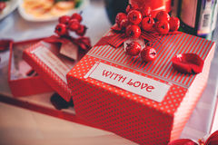 Present. Red gift box, beautiful wedding decor royalty free stock photos
