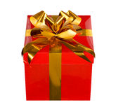 Present. Red present gift box with golden ribbon Royalty Free Stock Photo