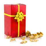 Present in red and gold Royalty Free Stock Photos