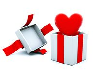 Present with red heart Stock Photos