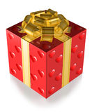 Present Red with Hearts and Gold band Royalty Free Stock Photos