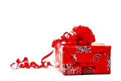 Present with Red Wrapping and Bow Stock Photography
