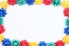 Present ribbons on white Stock Photography