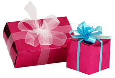 Present Romantic Boxes. Present pink boxes with ribbons isolated on white stock image