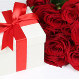 Present with roses for birthday gifts, Valentine's or mother's d Stock Photos
