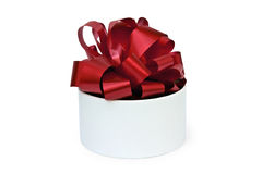 Present round box with a red bow Royalty Free Stock Photography