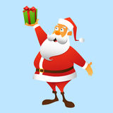 A present from Santa Claus. Santa Claus holding a gift at arm, full-length Stock Photography