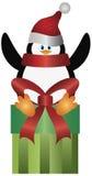 present santa för hattillustrationpingvin Arkivbilder