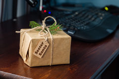 Present from secret santa. Work holiday concept Royalty Free Stock Photography
