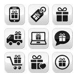Present, shopping  buttons set Royalty Free Stock Image