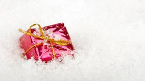Present in the snow for christmas stock video footage