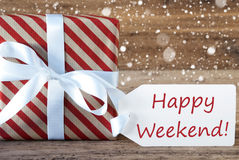 Present With Snowflakes, Text Happy Weekend Stock Photography