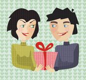 Present on st valentine's day in vector Royalty Free Stock Photography