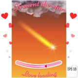 Present the star. The best gift to a loving heart. Love loading. Concept. Thunderclouds against the background of sunrise or sunset. Vector Realistic clouds Royalty Free Stock Photos